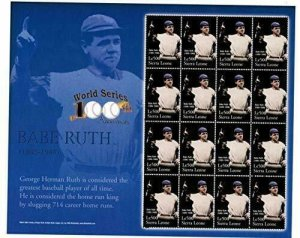 Sierra Leone NNH S/S Babe Ruth The Home Run King X-Large Size