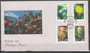 India, Scott cat. 959-962. Himalayan Flowers issue. First day cover. *