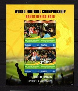 Tuvalu  #1147 (2010 Spain in World Cup Soccer sheet) VFMH CV $7.50