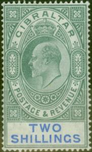Gibraltar 1903 2s Green & Blue SG52 Fine & Fresh Lightly Mtd Mint (4)