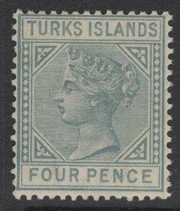 TURKS ISLANDS SG57 1884 4d GREY DIE I MTD MINT