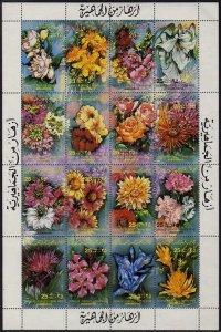 Libya 1052 ap sheet,MNH.Michel 1067-1082. Flowers 1983.Lily,Rose,Chrysanthemum,