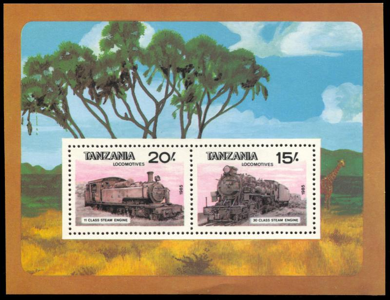 Tanzania 289, MNH, Locomotives souvenir sheet
