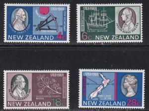 New Zealand # 431-434, Cooks Landing Bicentennial, Hinged, 1/3 Cat.