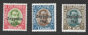 Doyle's_Stamps: Iceland Zeppelin Airmails of 1931 Scott #C9* to #C11*