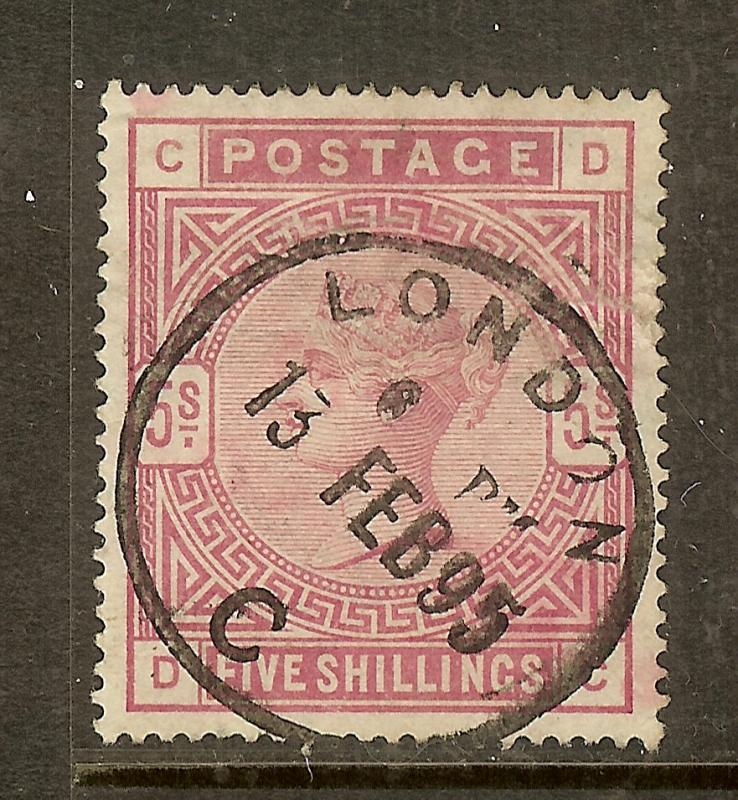 Great Britain, Scott #108, 5sh Queen Victoria, Dated Cancel, Used