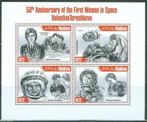 MALDIVES  2013  50th ANN 1st WOMAN IN SPACE VALENTINE TERESHKOVA SHEET  MINT NH
