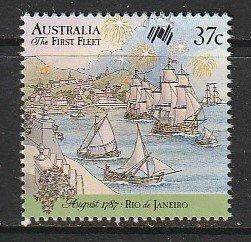 1987 Australia - Sc 1027e - used VF - single - 1st Fleet - Fireworks over harbor