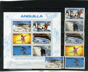 ANGUILLA 1980 WINTER OLYMPIC GAMES LAKE PLACID SET OF 6 STAMPS & S/S MNH