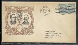 US #792-8 Navy Heroes Linprint cachet addressed