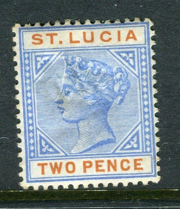 ST.LUCIA; 1880s early QV Crown CA issue Mint hinged 2d. value, Shade