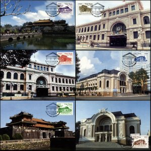 Vietnam. 2014. Architecture (Mint) Set of 6 Maxi Cards