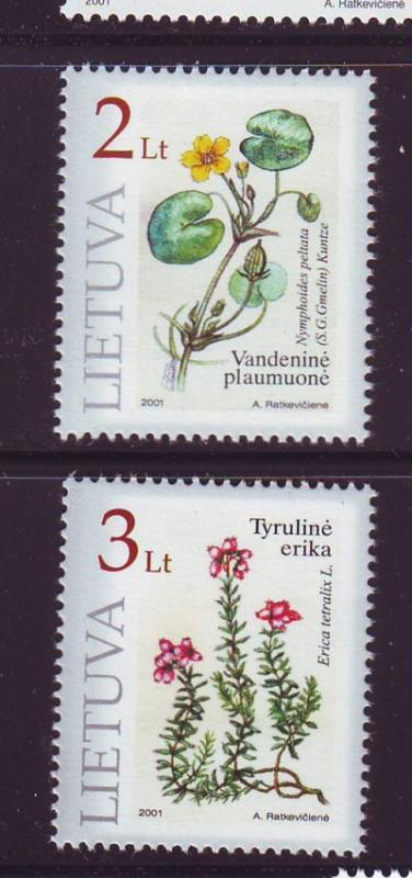 Lithuania Sc693-4 2001 Flowers Red Book stamps NH
