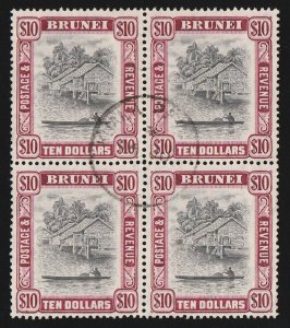 BRUNEI : 1947 View $10 black & purple block. RARE!
