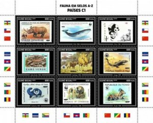 Guinea-Bissau - 2019 WWF Fauna Stamps on Stamps - 9 Stamp Sheet - GB190403a01