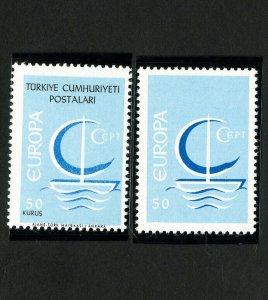 Turkey Stamps # 1718 XF Black text missing error w/ normal for comparison OG NH