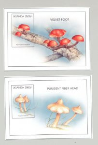 Uganda #1422-1423 Mushrooms 2v S/S Imperf Chromalin Proofs
