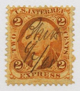 B44 U.S. Revenue Scott R10c 2-cent Express orange 1865 manuscript cancel SCV=$14