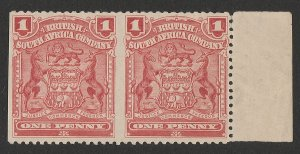 RHODESIA : 1898 Arms 1d pair error IMPERF between & at left. MNH **. RARE!