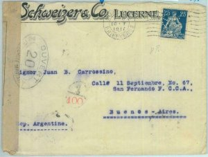 89091 - SWITZERLAND - POSTAL HISTORY - PERFIN stamp on COVER to ARGENTINA 1917