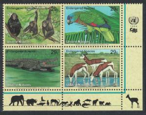 UN New York Birds Chimpanzee Amazon Crocodile Gazelles Bottom Right block of 4
