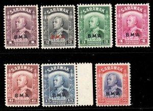 Sarawak 1945 KGVI BMA p/set (7v.) mint