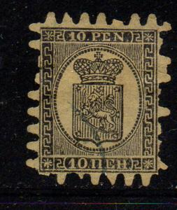 Finland Sc 8 1870 10p black Coat of Arms stamp used