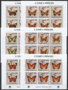 KV025 2003 S. TOME & PRINCIPE NEW FLORA & FAUNA BUTTERFLIES SCOUTING 6SET MNH