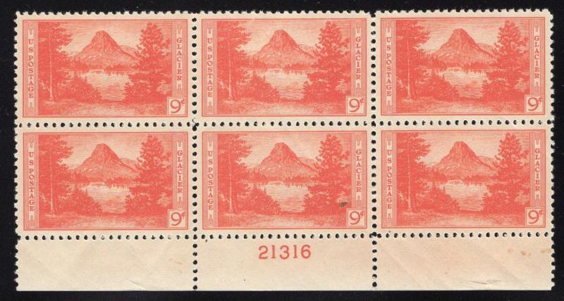 US#748 National Parks - Plate Number Block of 6 - Mint - O.G. - N.H.