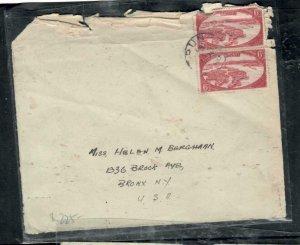 BRUNEI COVER (P1608B) 1930 6C RED PR COVER TO US BIT RAGGED UR