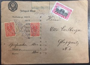 Austria #204, 218, 222 on Cover Used 1919-1920