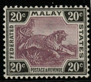 MALAYA FMS SG21 1900 20c MAUVE & BLACK MTD MINT