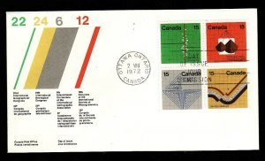 Canada-Sc#585a-stamps on FDC-block of 4-Earth Sciences-1972-