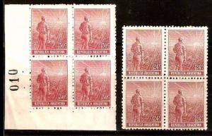 #254 ARGENTINA 1911 FARMER 24c+30 BLOCS OF 4,Sc 198-9 GJ 346-7,MT 186-7 MNH