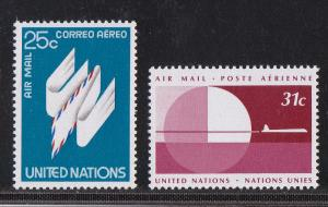 United Nations - New York # C22-23, Airmail, Mint NH 1/2 Cat