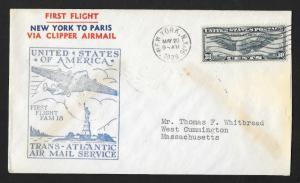 UNITED STATES First Flight Cover 1939 New York to Marseille France