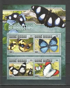 ST858 2016 GUINEA-BISSAU BUTTERFLIES FAUNA INSECTS 1KB MNH STAMPS