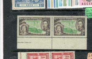 SOUTHERN RHODESIA (P1812B)   KGVI CORONATION  2D SG 37 PART IMPRINT PR MNH