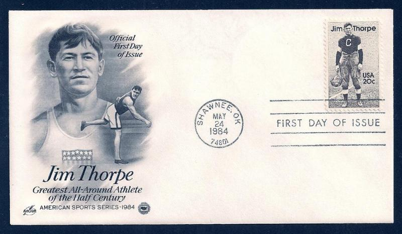 UNITED STATES FDC 20¢ Jim Thorpe 1984 ArtCraft