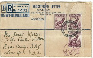 Newfoundland 1940 St. Johns cancel on formula registry envelope to the U.S.