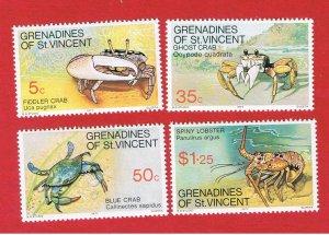 St. Vincent Grenadines #119-122  MNH OG   Crabs    Free S/H
