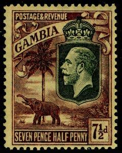 GAMBIA SG132, 7½d purple/yellow, LH MINT. Cat £24. WMK SCRIPT.