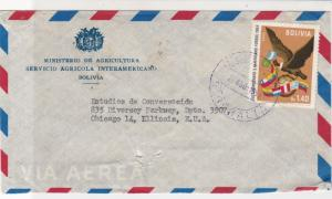 Bolivia 1960 Ministry of Agriculture Airmail to USA Stamps Cover Ref 25380