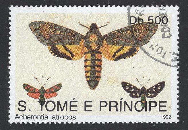 St. Thomas and Prince    #1082    1992  used  butterflies moths 500d