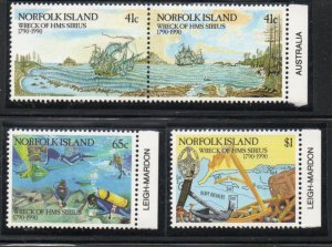 Norfolk Island Sc 471-74 1990 Sirius Shipwreck stamp set mint NH