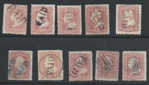 Ten Different PAID Cancels, Used, Post Marks - Paids, Col...