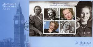 St Helena 2013 FDC Margaret Thatcher 4v M/S Cover Politicians Big Ben Stamps