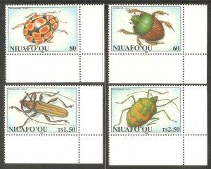 TONGA NIUAFO'OU Sc# 168 - 171 MNH FVF Set4 Insects