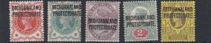 BECHUANALAND 1887  S G 59 - 63     VALUES TO 3D     MH