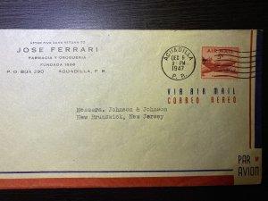 Jose Ferrari corner Aguadilla Puerto Rico 1947 Airmail Envelope 5c rate to New J